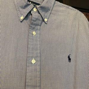 Ralph Lauren navy plaid button down - size L